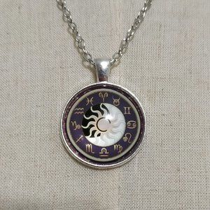 Jewelry - Astrology Sun & Moon Cabochon Pendant Necklace